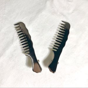 Silver brush hair clips (set of 2)